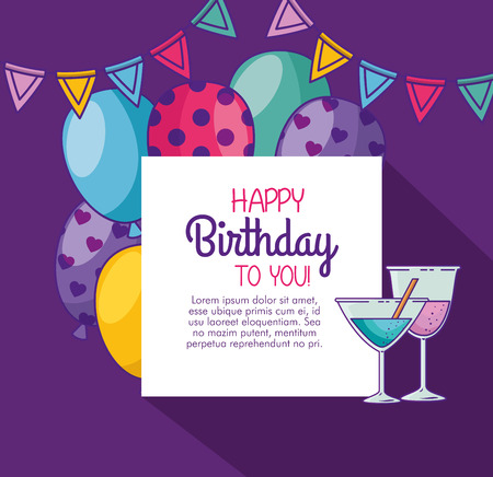 happy birthday with balloons and party banner vector illustration Illustration