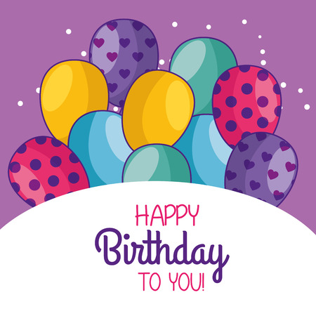 happy birthday card decoration with balloons vector illustration Imagens - 111421249