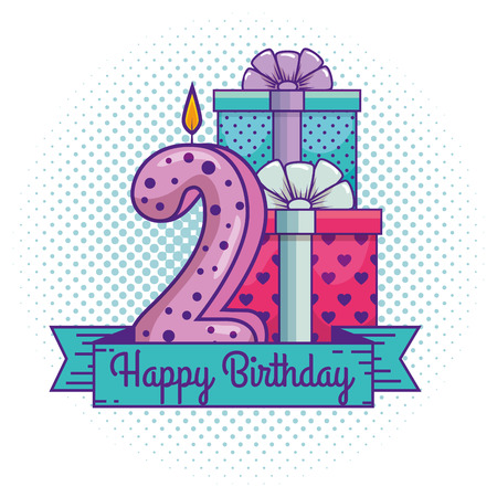 happy birthday with candle number two decoration vector illustration Illustration