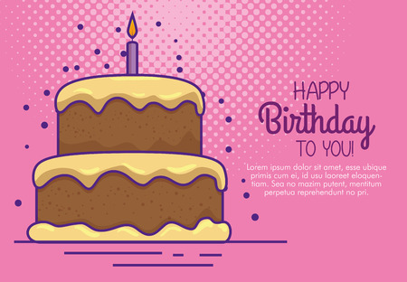 happy birthday with cake and candle decoration vector illustration design