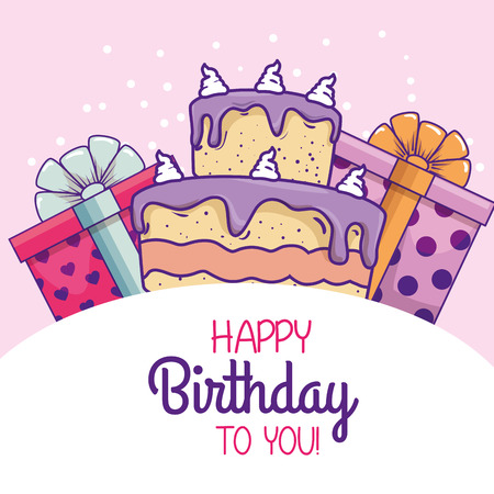 cake with presents gifts to celebrate happy birthday vector illustration