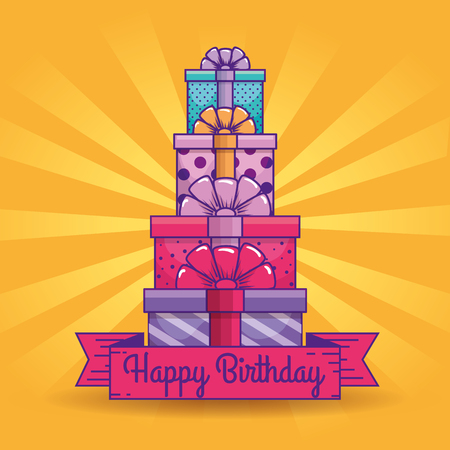 presents gifts with ribbon decoration to brithday vector illustration