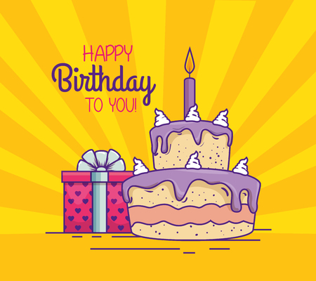cake with candle and present gift decoration vector illustration Illustration
