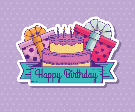 cake with candles and presents gifts to brithday celebration vector illustration 向量圖像