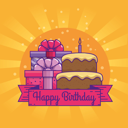 cake with presents gifts and ribbon to birthday vector illustration