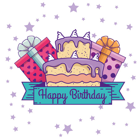 presents gifts with ribbon and cake to birthday vector illustration Ilustrace