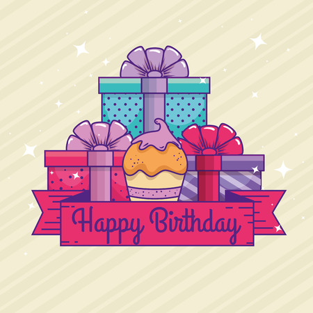 presents gifts with muffin and ribbon to happy birthday vector illustration Illustration