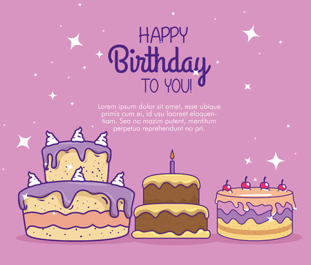cakes with candles and cherrys to happy birthday vector illustration