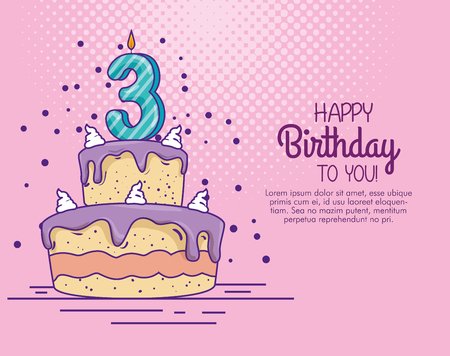 birthday cake with candle number three decoration vector illustration