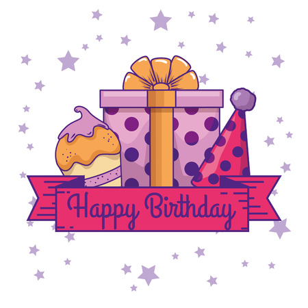 muffin with present and party hat to birthday vector illustration
