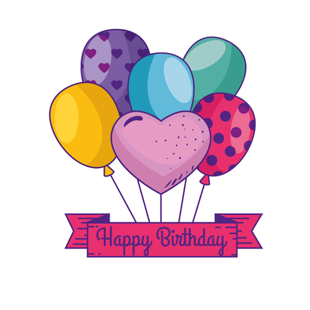 happy birthday with balloons and ribbon decoration vector illustration Illustration
