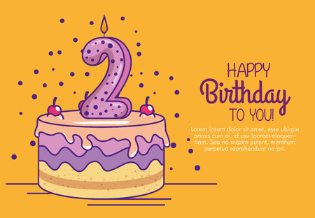 happy birthday cake with candle number two vector illustration