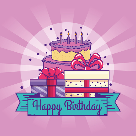 happy birthday with cake and presents gifts vector illustration