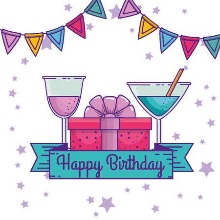 happy birthday with ribbon and party banner decoration vector illustration 版權商用圖片 - 111421273