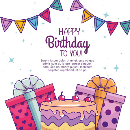 happy birthday with cake and present decoration vector illustration