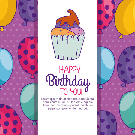 happy birthday celebration card with muffin decoration vector illuustration Illustration