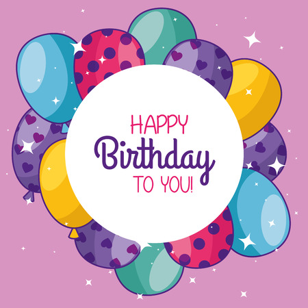 happy birthday with balloons and sticker decoration vector illustration 向量圖像