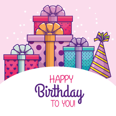 happy birthday with party hat and presents vector illustration