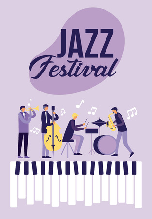 people playing music jazz festival keys vector illustration