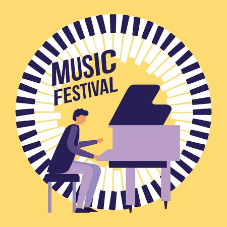 music jazz festival elegant man playing piano vector illustration