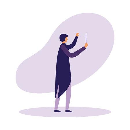 muziek dirigent orkest op witte achtergrond vectorillustratie Vector Illustratie