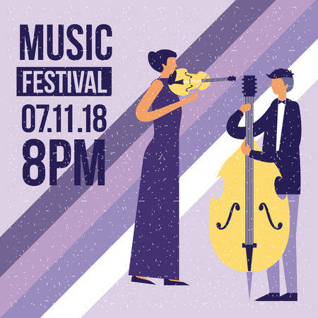 music festival woman playing fiddle and man playing cello vector illustration