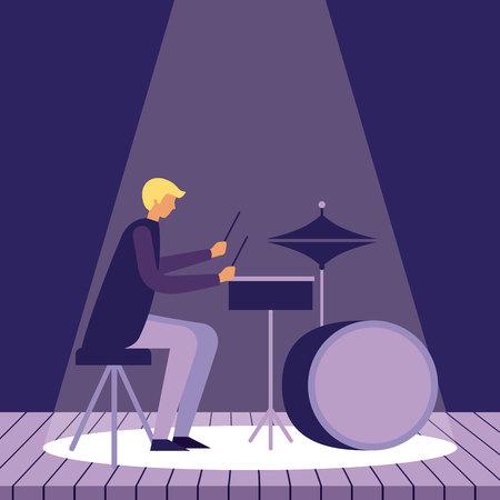 music instrument man playing drums lights presentation vector illustration Çizim