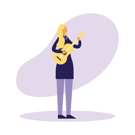 woman standing playing guitar music vector illustration