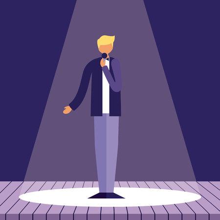presentation man holding microphone singing vector illustration Illustration