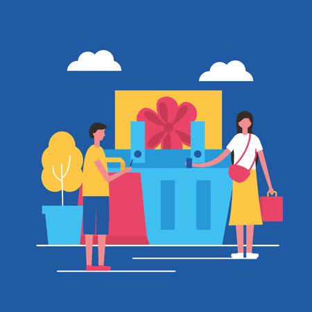 online buying park women basket holding bags vector illustration Illustration