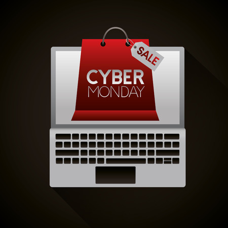 cyber monday laptop screen red shopping bag sale vector illustration Illustration