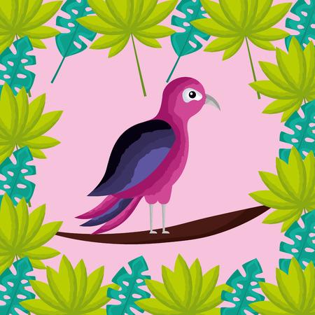 tropical natural pink bird branch leaves plants vector illustration Illustration