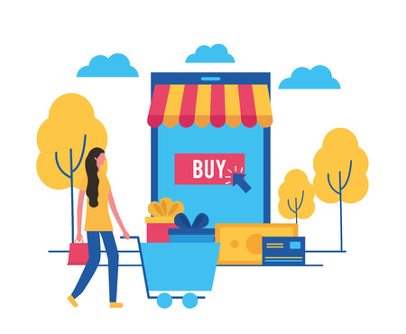 online buying outdoor park woman walking carry shopping cart store offers vector illustration