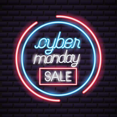 cyber lunedì segno rosso neon cerchio stile illustrazione vettoriale