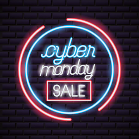 cyber monday red sign neon circle style vector illustration