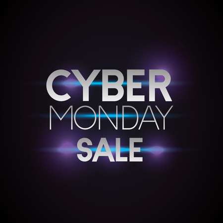 cyber monday sale neon style sign vector illustration Иллюстрация