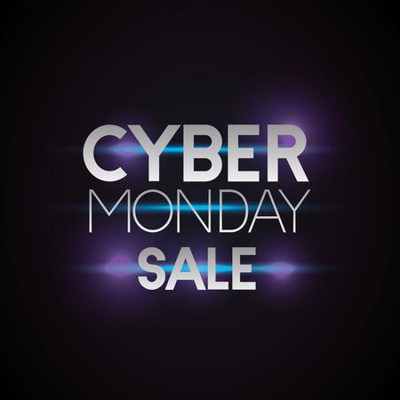cyber monday sale neon style sign vector illustration Illustration