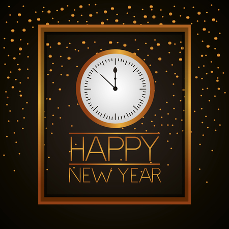 happy new year frame golden clock time dotted background vector illustration