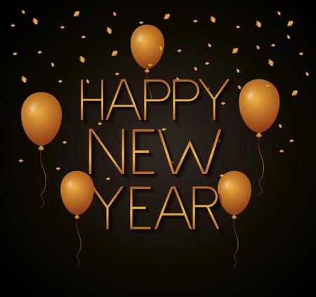 happy new year golden balloons decoration vector illustration Çizim
