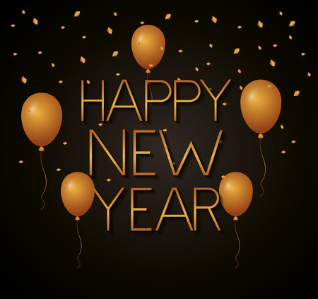 happy new year golden balloons decoration vector illustration Illustration