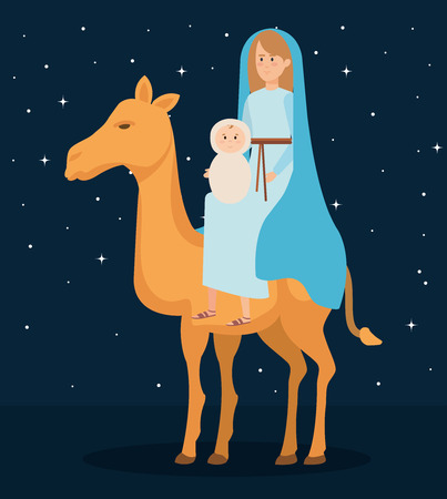 cute mary virgin with jesus in camel characters vector illustration design Banque d'images - 111457903