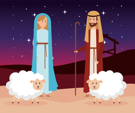 holy family with sheeps manger characters vector illustration design