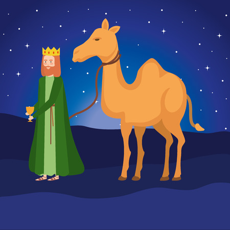 wise king with camel manger characters vector illustration design