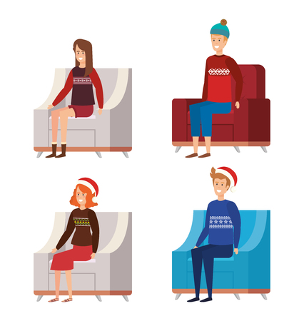 family in livingroom with christmas decoration vector illustration design