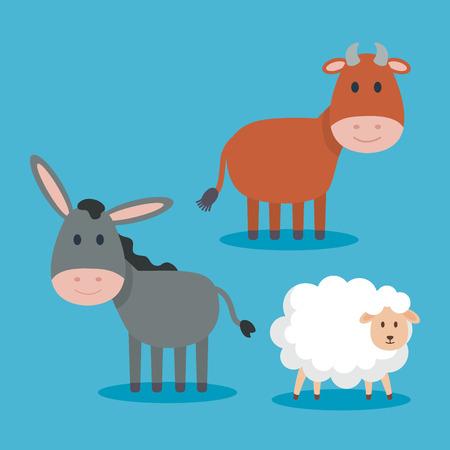 Animales lindos personajes del pesebre, diseño de ilustraciones vectoriales
