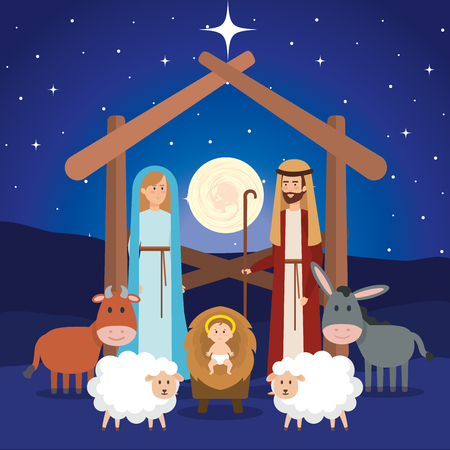 holy family manger characters vector illustration design