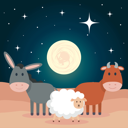 group of animals manger characters vector illustration design