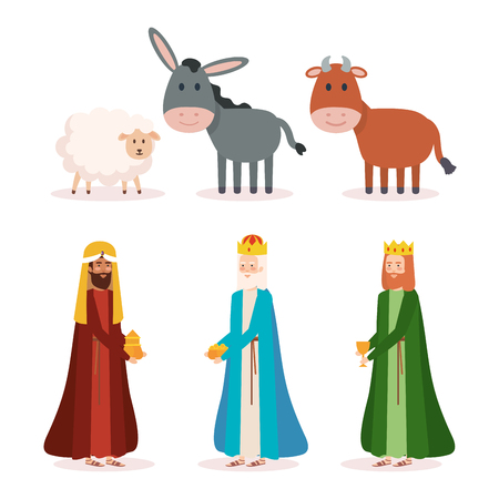 wise kings and animals manger characters vector illustration design