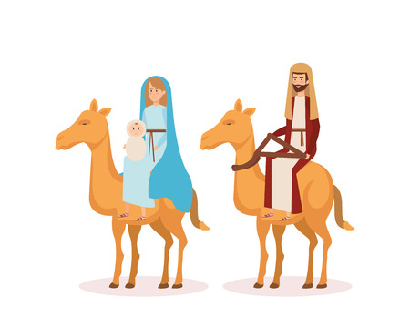 virgin mary and saint joseph with camel vector illustration design Banque d'images - 111457940