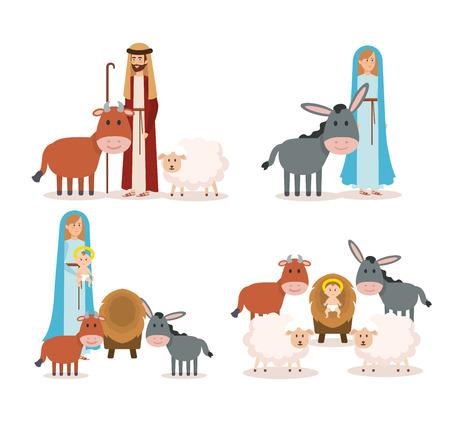 Groupe de personnages de crèche vector illustration design Vecteurs